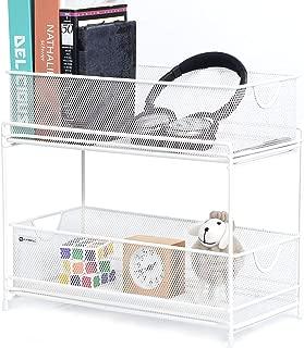 2 Tier Sliding Basket Organizer Drawers Mesh Desktop Organizer Storage for Bathroom Kitchen Laundry Office Cabinet Countertop Pantry Under the Sink(White)