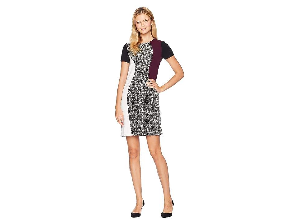 Taylor Mixed Fabric Shift Dress (Black/Ivory/Purple) Women