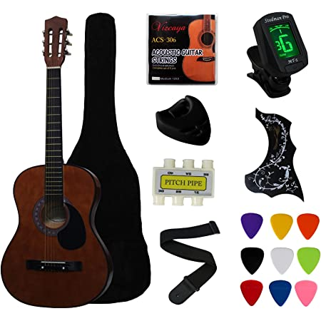 """YMC 38"""" Coffee Beginner Acoustic Guitar Starter Package Student Guitar With Gig Bag,Strap, 3 Thickness 9 Picks,2 Pickguards,Pick Holder, Extra Strings, Electronic Tuner -Coffee"""