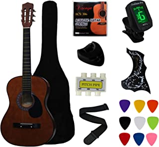 """Best YMC 38"""" Coffee Beginner Acoustic Guitar Starter Package Student Guitar With Gig Bag,Strap, 3 Thickness 9 Picks,2 Pickguards,Pick Holder, Extra Strings, Electronic Tuner -Coffee Review"""