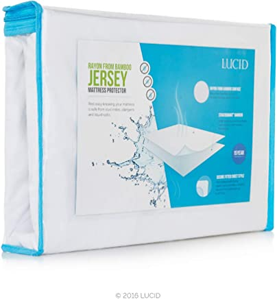 LUCID Premium Rayon from Bamboo Jersey Mattress Protector - Ultra Soft - Waterproof - Dust Mite