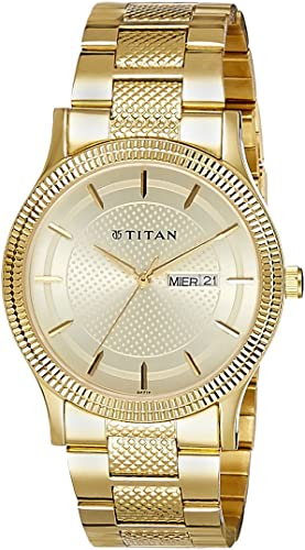 Titan Analog Champagne Dial Stainless Steel Strap Men s Watch 1650YM06