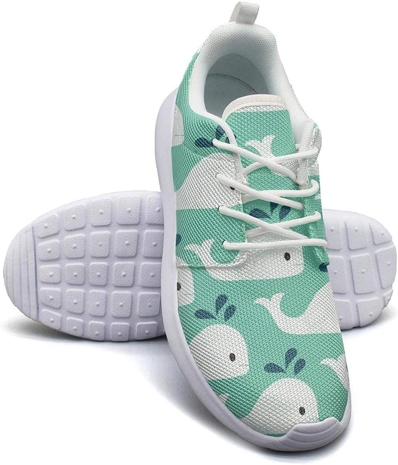 Gjsonmv Vintage Whale Pattern mesh Lightweight shoes for Women Fashion Sports Tennis Sneakers shoes