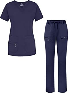 Adar Pro Breakthrough Plus Scrub Set for Women - Enhanced V-Neck Top & Multi Pocket Pants