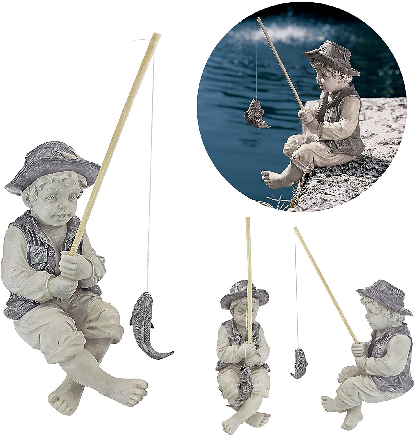 L-ELEGANT Handmade The Fishing Gnome Ornaments Decor Outdoor Lawn Pond,Fishing Boy Outdoor Statue,Resin Fisherman Garden Sculptures and Statues Garden Figures Figurines-Fishing boy 15cm(5.9inch)