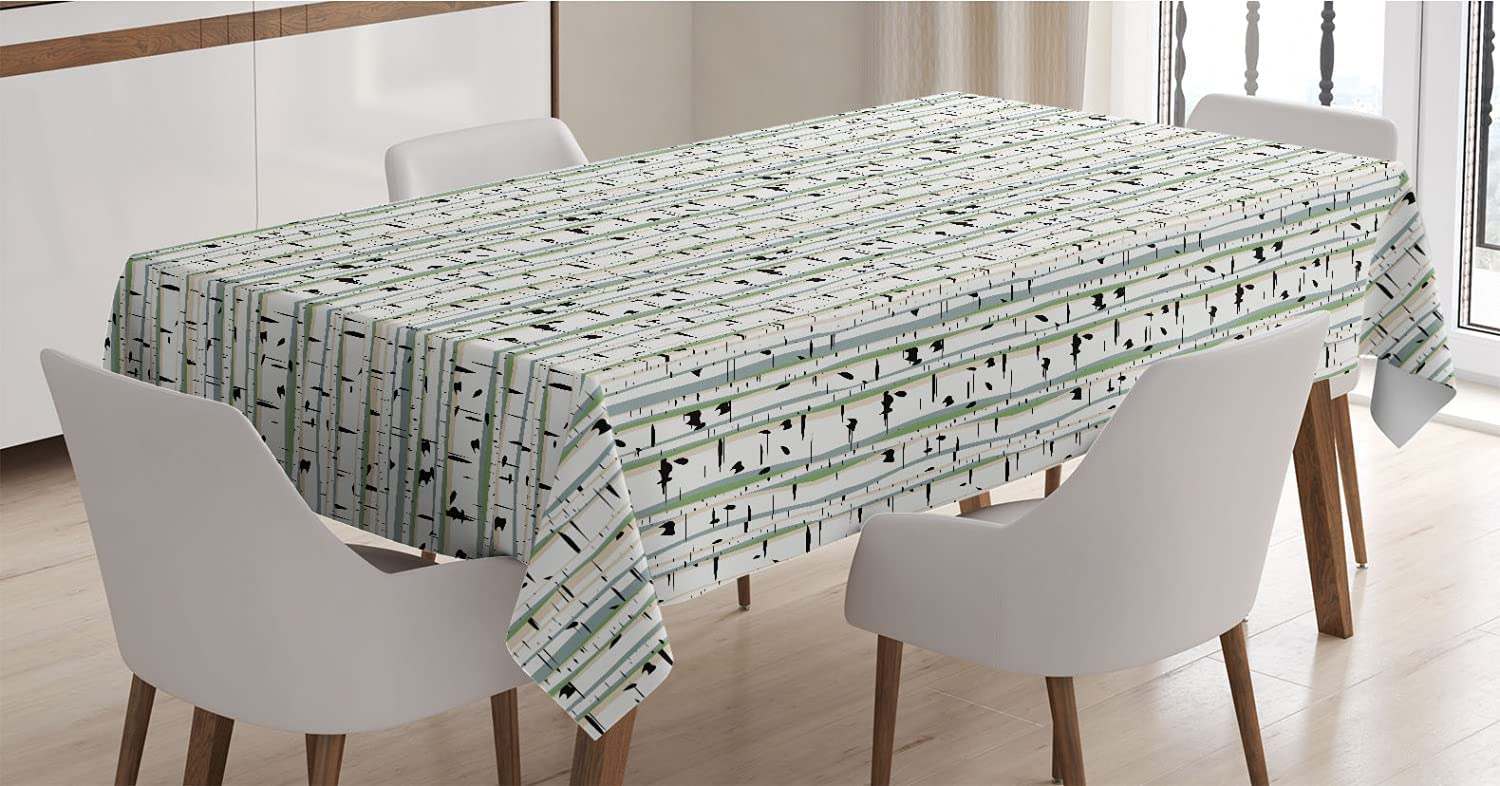We OFFer at cheap prices Ambesonne Tree Tablecloth Trunks of Birches Fore Colorful Popular popular Dense