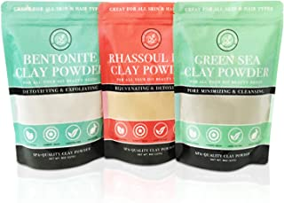 Bentonite (Indian Healing), Moroccan (Red Rhassoul), and Green (French-Sea) Clay Powder - 3 Multipak/Set 8 oz Each - for M...