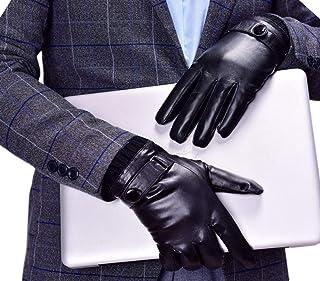 Men's Touchscreen Warm Fur Lined Lambskin Leather Gloves Snug Cuffs