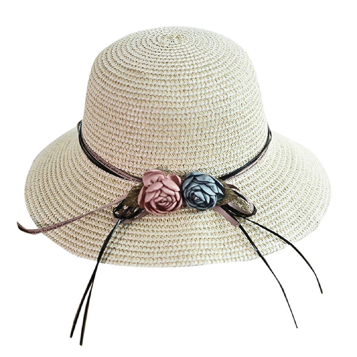 大きさふつう社員Barlingrock女性のための 太陽の帽子わら夏レディースサンハットフロッピー UV 保護