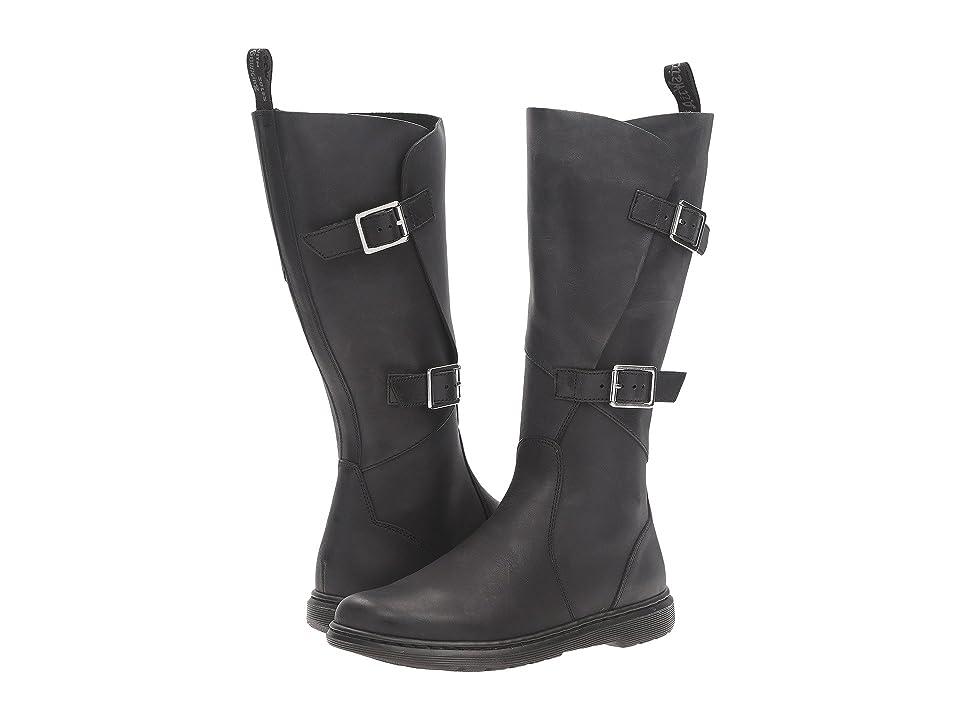 Dr. Martens Caite Buckle Wrap Boot (Black Oily Illusion) Women