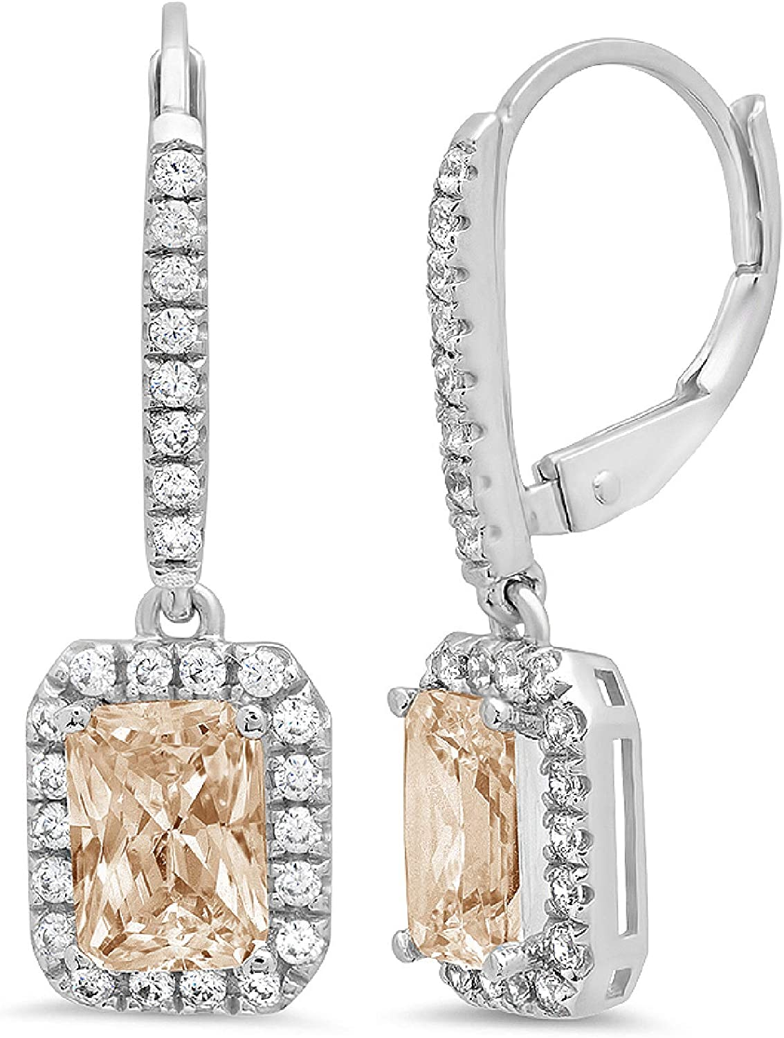 3.47CT Emerald Round Cut ideal VVS1 Conflict Free Gemstone Halo Solitaire Brown Champagne CZ Unisex Designer Lever back Drop Dangle Earrings Solid 14kWhite Gold