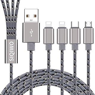 SIQIWO 2Pack/1.2m/3A Multi 4 en 1 Tipo C/2 iP/Micro USB Conector de Puerto Cable de Carga Rápida de Cargador, Compatible P...