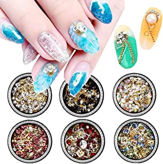 6 Boxes Nail Art Decoration Rhinestones 3D Nail Metals Rhinestone Glitters Nail Charms Jewelry for Nails Designs Nail Gems Studs Beads Nail Art Supplies for Women Manicure Design Tips Decor