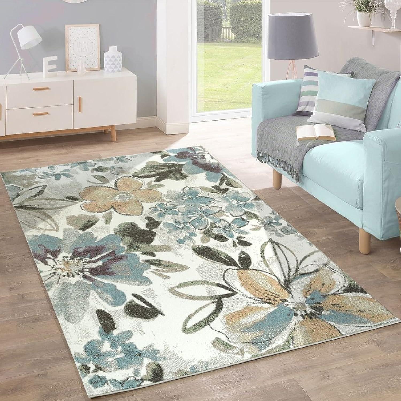 Designer Designer Designer Teppich Modern Wohnzimmer Blaumen Muster Pastell Töne In Grün Blau Creme, Grösse 240x320 cm B071WCTSDK 9f58fc