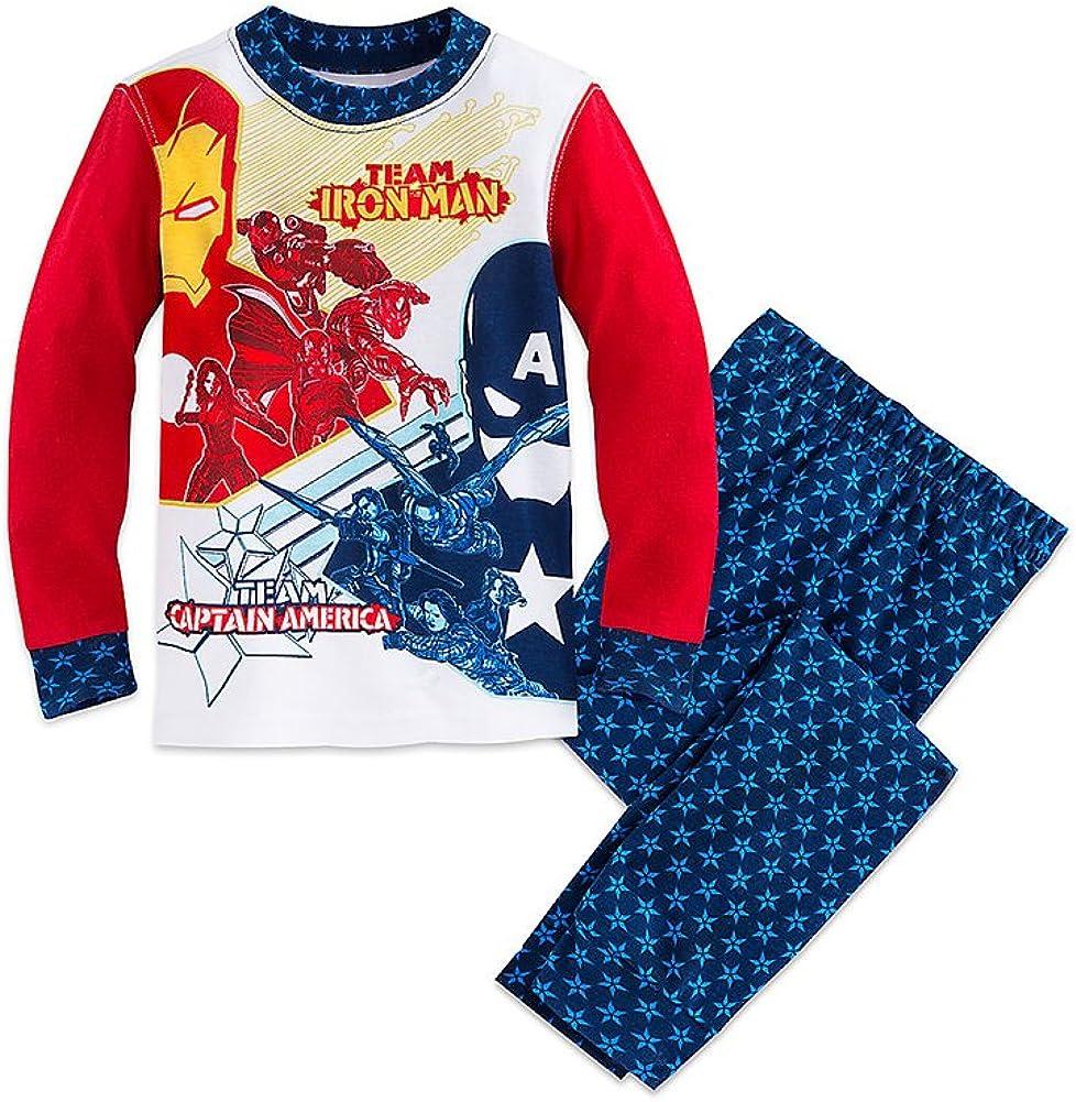 Disney Store Boys Marvel's Team Iron Man/Team Captain America PJ Pals Pajama Set