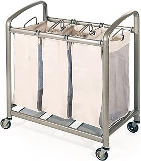 Seville Classics Deluxe Mobile 3-Bag Heavy-Duty Laundry Hamper Sorter Cart, Champagne Gold