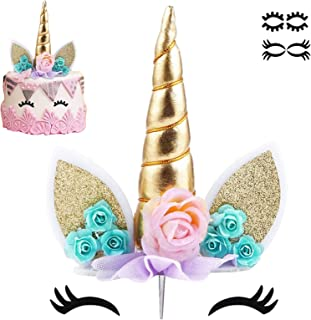 Best Unicorn Cake Topper with Eyelashes Party Cake Decoration Supplies for Birthday Party, Wedding, Baby Shower, 5.8 inch Reviews