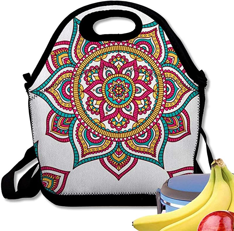 Insulated Neoprene Lunch Bag Tribal Mandala Ethnic Doodle Ornament White Backdrop Red Green And Yellow Reusable Soft Lunch Tote For Work And School
