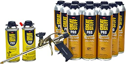 Dow Great Stuff PRO Wall and Floor Kit, 12-26.5 oz Wall & Floor, AWF Pro Foam Gun, 2 Cleaners