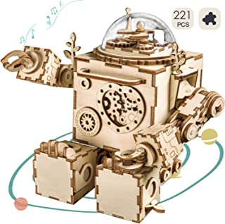 ROKR DIY Robot Toy Figures 3D Wooden Puzzle Musical Box Machinarium Craft Kit Gifts for Boys and Girls