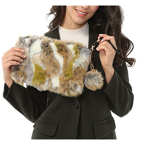 Dikoaina Fashion Women Faux Fur Handbag Evening Clutch Phone and Wallet  Purse Lady Bag 2422015897470
