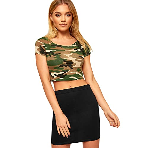 70c1e695ee60f New Womens Army Camouflage Green Print Cap Sleeve Vest Ladies Crop Top 8-14