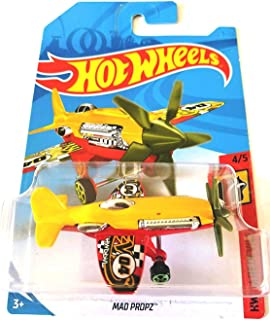 Hot Wheels 2018 50th Anniversary HW Daredevils Mad Propz (Airplane), Yellow and Red