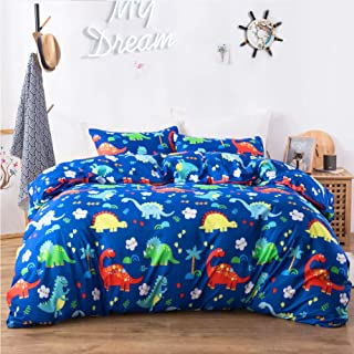 Macohome Kids Bedding Queen Duvet Cover Set Full for Boys with 2 Pillowcases and 1 Duvet Cover(Dinosaur, Queen)