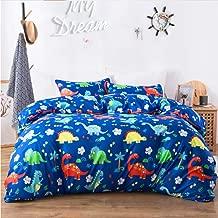 Macohome Dinosaur King Bedding Set Kids Comforter Cover Set for Boys with 2 Pillowcases and 1 Duvet Cover(Dinosaur, King)