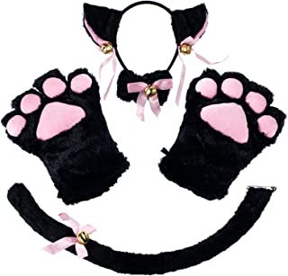 CHICHIC Cat Cosplay Costume Accessories Kitten Tail Ears Collar Paws Gloves Set Anime Lolita Gothic Set for Women Girl Hal...