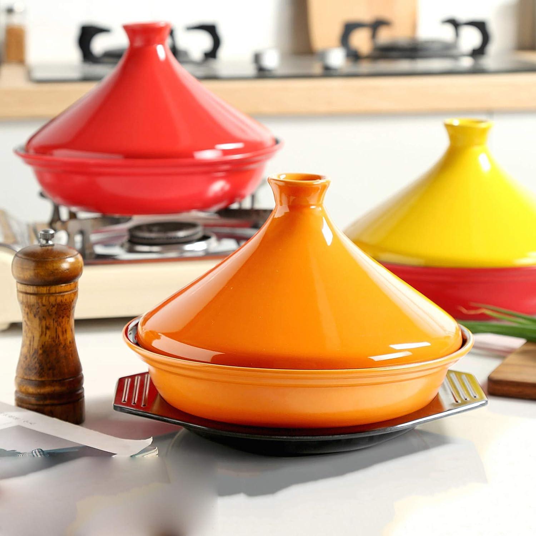 Gflyme Marmite à tajine Marocaine avec Couvercle, Tajine de Cuisson en céramique Marocaine Professionnelle, pour la Cuisson et Le ragoût à la mijoteuse - sans Plomb, B C