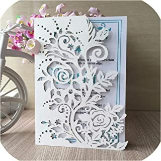12pcs/lot Hollow Flowers Wedding Invitations Square Shape Engagement Wedding Party Invitation Cards European Style,tiffany blue
