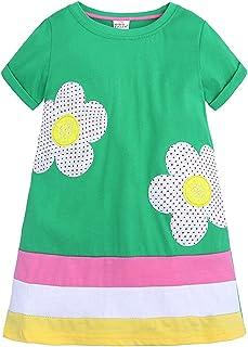 KISSOURBABY Little Girls Soft Summer Cotton Short Sleeve Dresses T-Shirt Casual Cartoon Dress