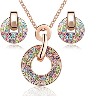 918006617bb2c Ensemble collier et boucles d'oreille 18 carats plaqué or rose avec  cristaux multicouleurs de