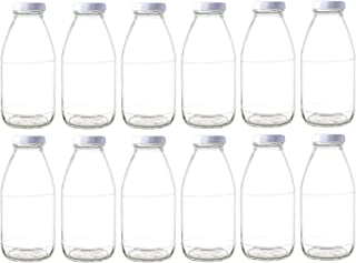 Nakpunar 12 pcs 10 oz Glass Bottle with White Lid for Milk, Fruit Juice, Water, Sauces