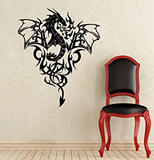Wall Decal Dragon Animal Predator Wings Fire Tribal Tattoo Decals Interior Design Bedroom Living Room Vinyl Sticker Home Decor Art Mural OS488