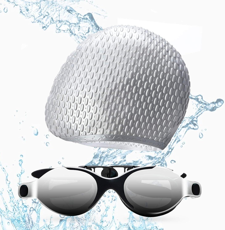 Funní Día Gafas de natación, antiempañamiento, protección UV, Gafas Natacion para adultos, hombre, mujer, jóvenes, adolescentes, con gorros de natación