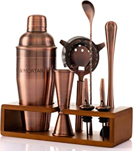 Mint&Mortar 7-Piece Cocktail Shaker Set with Bamboo Stand Stainless Steel Mixology Bartender Kit with Bar Tools for the home & professional Great Martini/Margarita 24oz mixer in Unique Brushed Copper