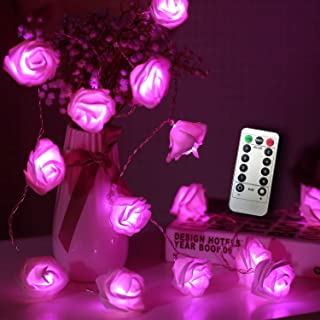 JMEXSUSS Timer 8 Modes 30 LED Battery Operated Pink Rose Flower 16.4 Feet Fairy String Light for Valentine Decoration Wedding Bedroom Garden Christmas Decor (30LED 16.5Feet, Pink)
