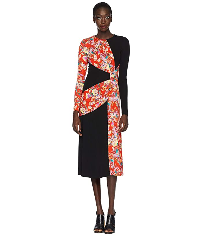 Prabal Gurung Lugu Long Sleeve Sash Dress (Black/Red Floral) Women's Dress