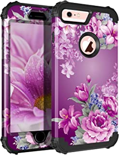 Pandawell Compatible iPhone 6s Case iPhone 6 Case Floral 3 in 1 Heavy Duty Hybrid Sturdy Armor High Impact Shockproof Protective Cover Case for Apple iPhone 6/6s, Black/Purple Flower