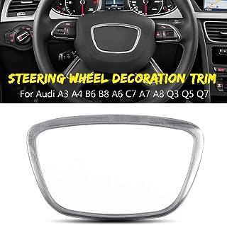 Car Steering Wheel Chrome Sticker Trim Cover Cap Decoration For Audi A3 A4 B6 B8 A6 C7 A7 A8 Q3 Q5 Q7