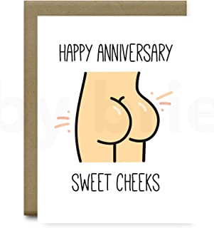 Anniversary Card, Happy Anniversary Sweet Cheeks Greeting Card, Funny Gift for Boyfriend or Husband by brie