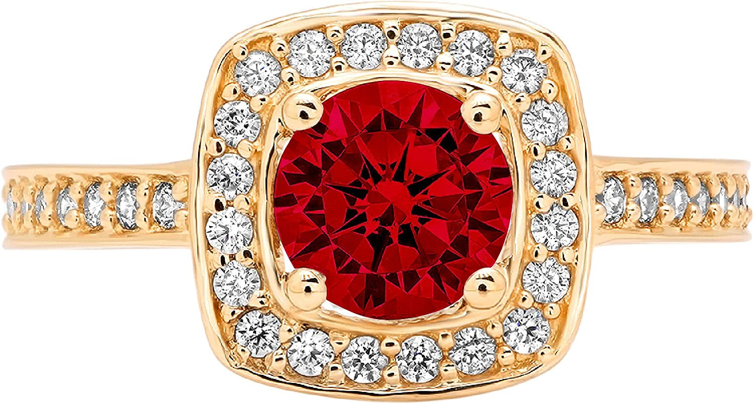 Clara Pucci 1.46 Brilliant Award Round Gen Cut All items free shipping Stunning Halo Solitaire