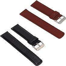 2Pack Replacement Leather Bands Compatible with Fossil Q Founder Gen 2 Touchscreen/ Fossil Gen 4 Q Explorist HR/ Fossil Q Men's Gen 3 Explorist Smartwatch Strap Wrist Band