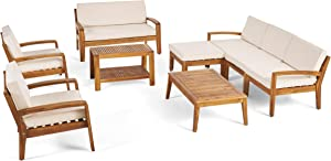 Great Deal Furniture Sally 7-Seater Sectional Sofa Set for Patio with Loveseat, Club Chairs, Ottoman, and Coffee Tables, Acacia Wood, Teak Finish with Beige Outdoor Cushions