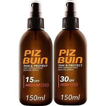 Piz Buin - Protector Solar, Tan & Protect Intensificador del Bronceado Aceite SPF 30 + SPF 15 - Pack 2 x 150 ml: Amazon.es: Belleza