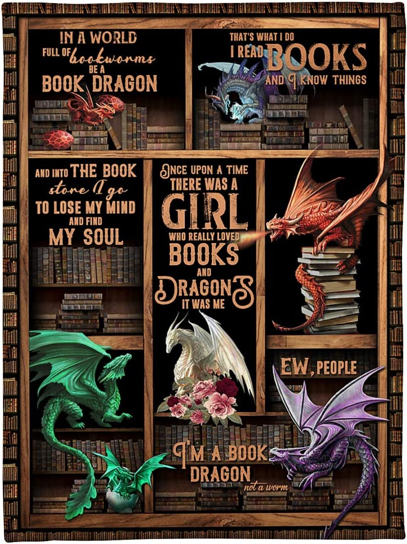 Fleece Blanket Dragon - Books Once Customi Upon Time There Was Gorgeous Financial sales sale