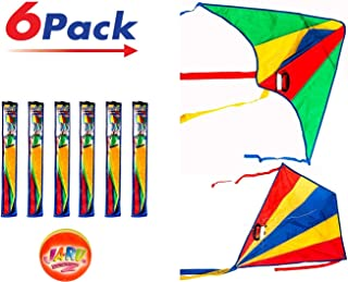 2CHILL Delta Kite Nylon Large in Bulk (Pack of 6) Made by JA-RU Plus 1 Bouncy Ball - Easy to Assemble, Launch, Fly - Premium Quality 9877-6p (Pack of 6 Kites)