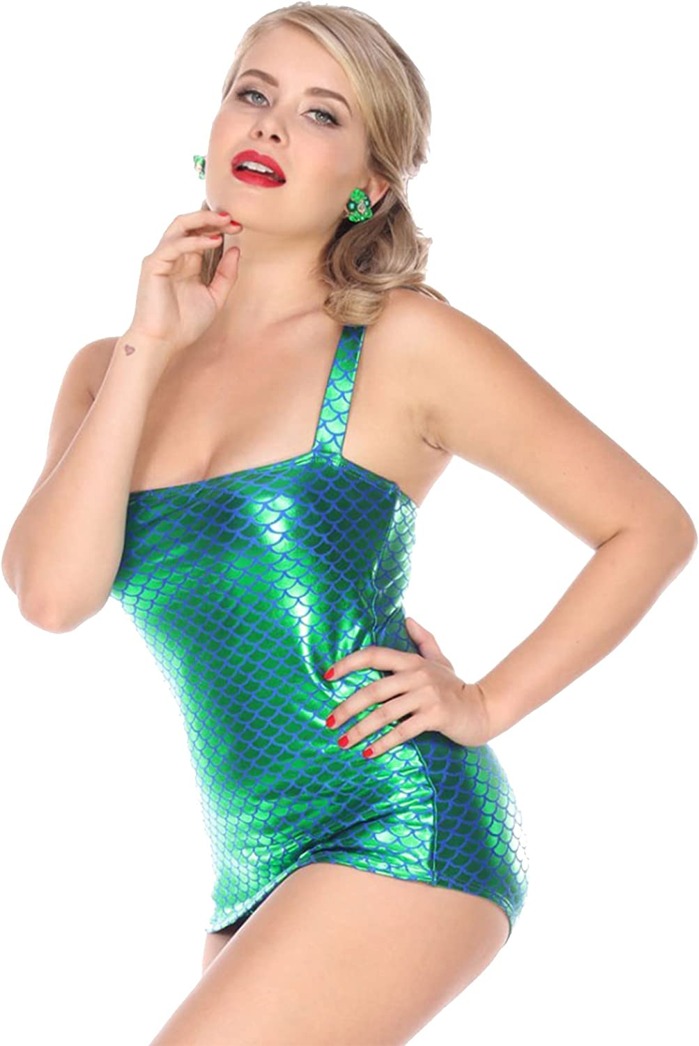 Esther Williams Retro Holographic Mermaid Scale Print One Piece Swimsuit